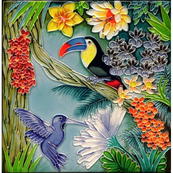 8 x 8 Ceramic Hummingbird and Toucan Decorative Mural Tile by Continental Art Center