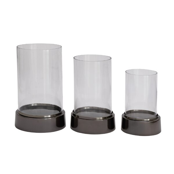 3 Piece Aluminum and Glass Hurricane Set by Cole & Grey