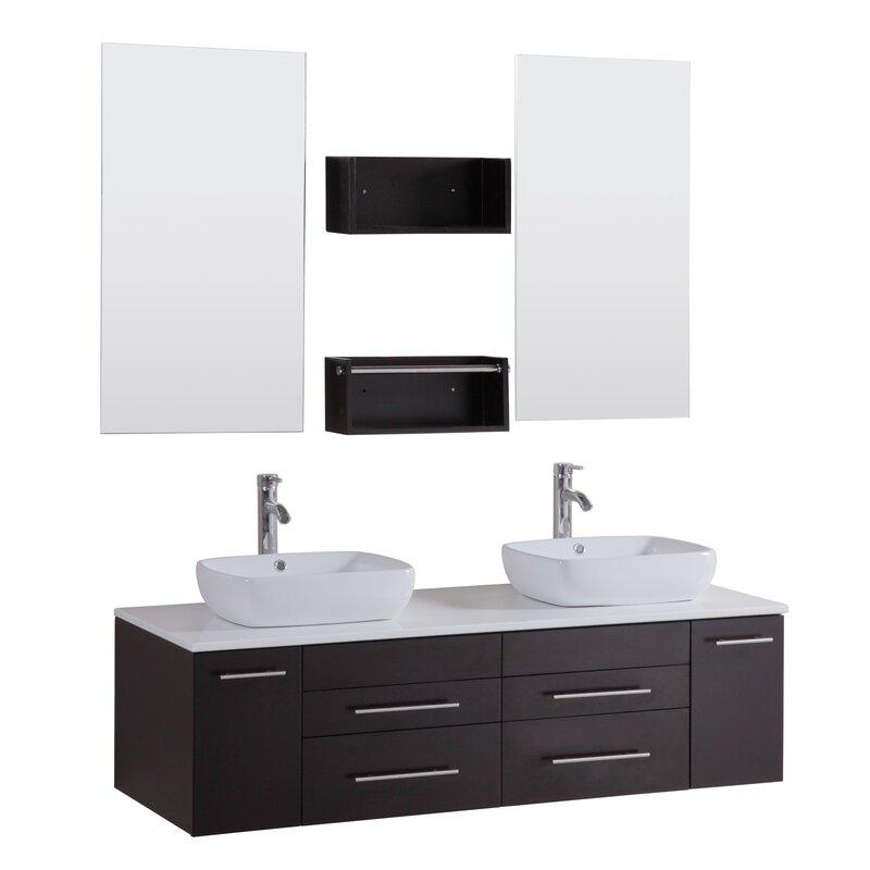 "Kokols 24 Bathroom Vanity Set kokols 60"" double floating bathroom vanity set with mirror"