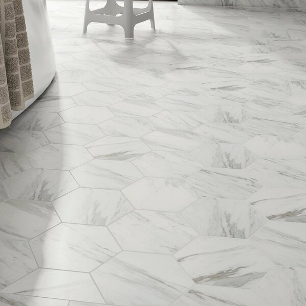 Marbre Carrara 8.63 x 9.88 Porcelain Mosaic Tile in White by EliteTile