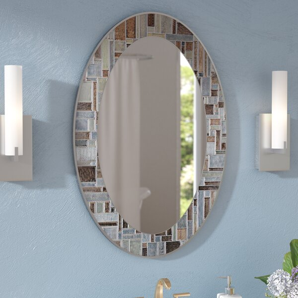 Serenity Oval Deep Engravings Accent Wall Mirror by Zipcode Design