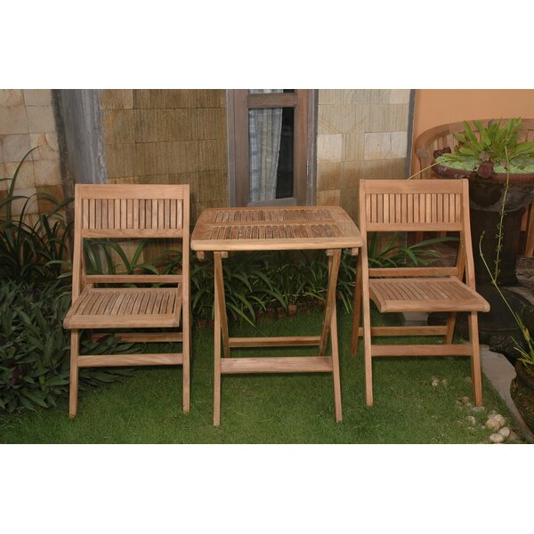 Bourassa 3 Piece Teak Bistro Set by Freeport Park