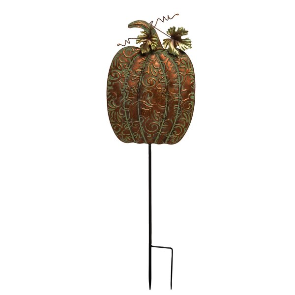 Percy Metal Harvest Pumpkin Yardstake by August Grove