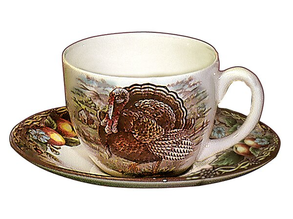 Turkey Teacup and Saucer (Set of 4) by The Holiday Aisle