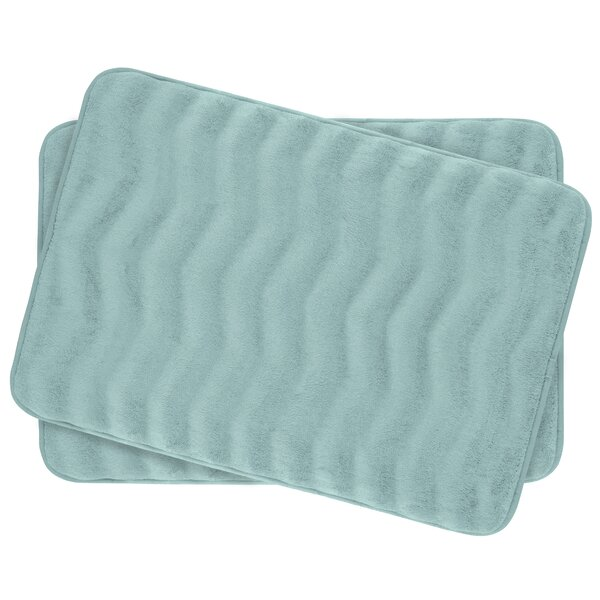 Waves Small Premium Micro Plush Memory Foam Bath Mat Set (Set of 2) by Bath Studio