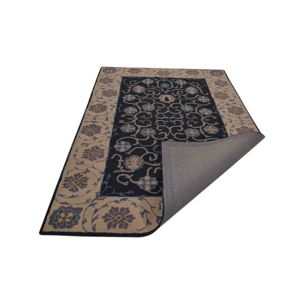 Bovill Agra Oriental Hand-Tufted Wool Navy Blue/Beige Area Rug by Canora Grey