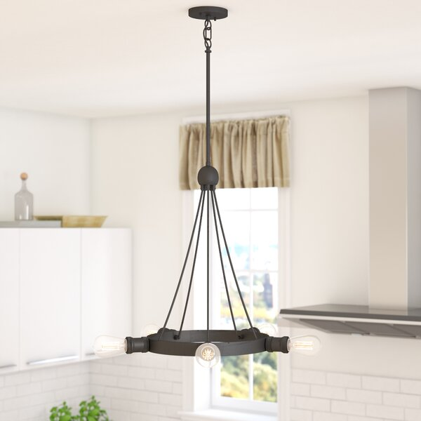 Perlita 5-Light Wagon Wheel Chandelier by Langley Street