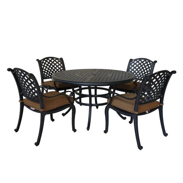 Waddington 5 Piece Sunbrella  Dining Set with Cushions by Fleur De Lis Living