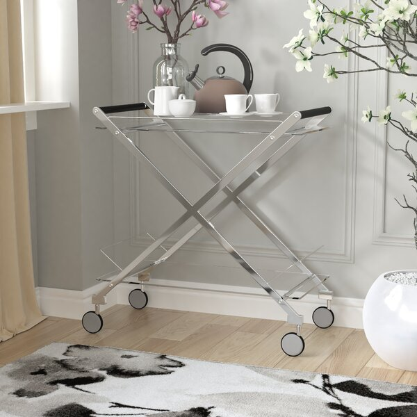 Hurley Modern Design Steel Glass Bar Cart By Everly Quinn