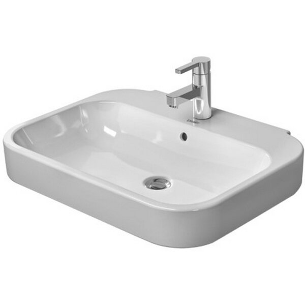 Happy D. Ceramic Rectangular Pedestal Bathroom Sink with Overflow by Duravit