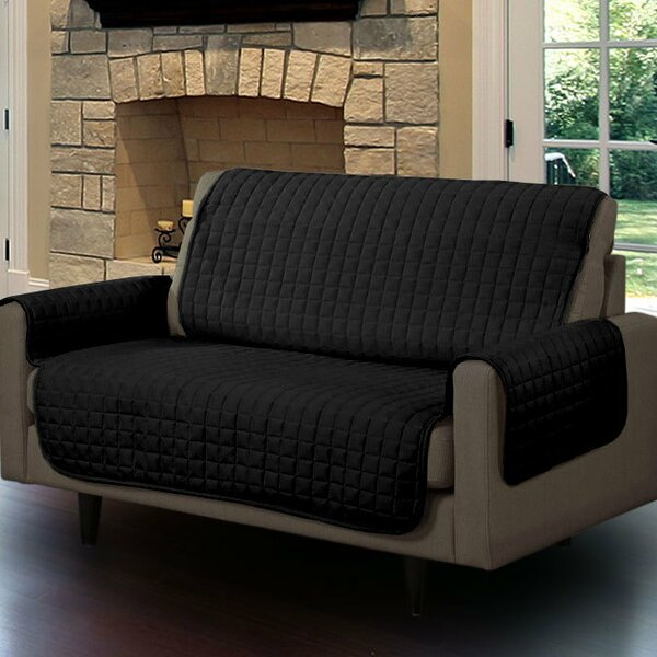 Microsuede Box Cushion Loveseat Slipcover by Symple Stuff