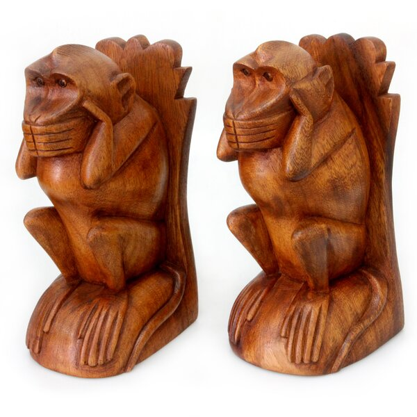 Speak No Evil Monkey Wood Book Ends (Set of 2) by Novica