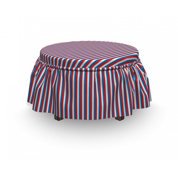 Harbour Stripe Patriotic 2 Piece Box Cushion Ottoman Slipcover Set By East Urban Home
