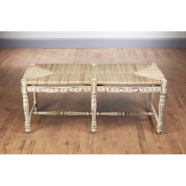 Wicker and Wood Bench by AA Importing