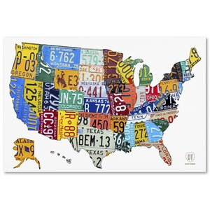 License Plate Map USA 2 by Design Turnpike Graphic Art on Wrapped Canvas by Latitude Run