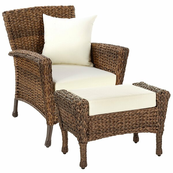Rutter Garden Patio Chair with Cushions and Ottoman by August Grove