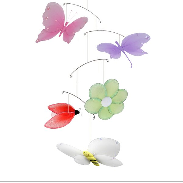 Jewel Butterfly Dragonfly Ladybug Flower Bee Nylon Hanging Mobile by Bugs-n-Blooms