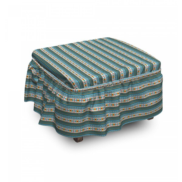 Home & Outdoor Rhombuses And Stripes Ottoman Slipcover (Set Of 2)