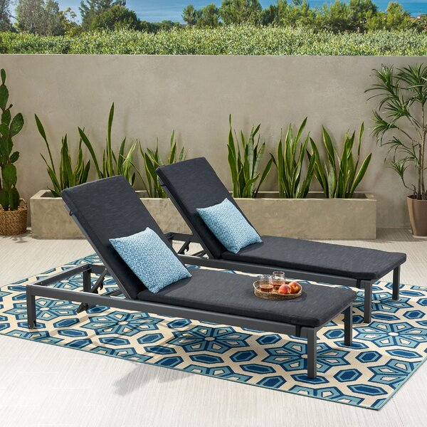 Bridgeport Outdoor Reclining Chaise Lounge with Cushion by Longshore Tides Longshore Tides