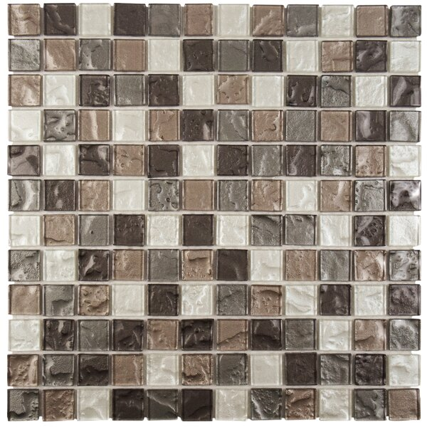 Stadius .875 x .875 Glass Mosaic Tile in Gray by EliteTile