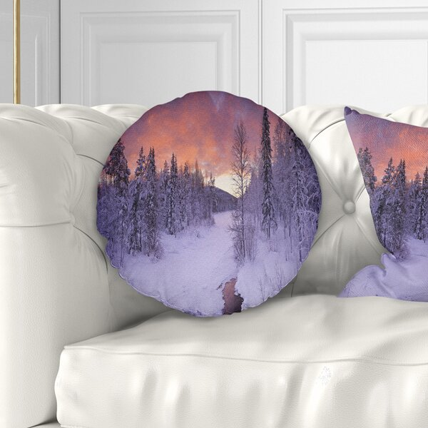 Landscape Finnish Lapland Trees in Winter Throw Pillow by East Urban Home
