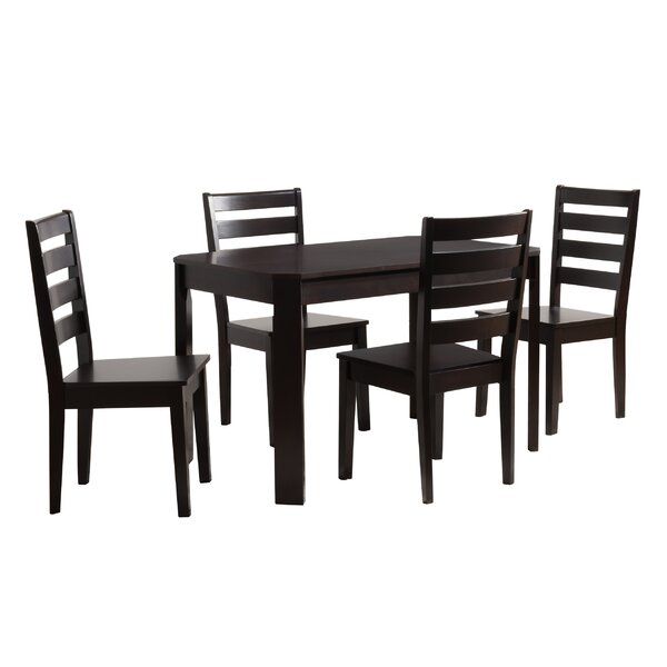 Goodman 5 Piece Solid Wood Dining Set by Breakwater Bay Breakwater Bay