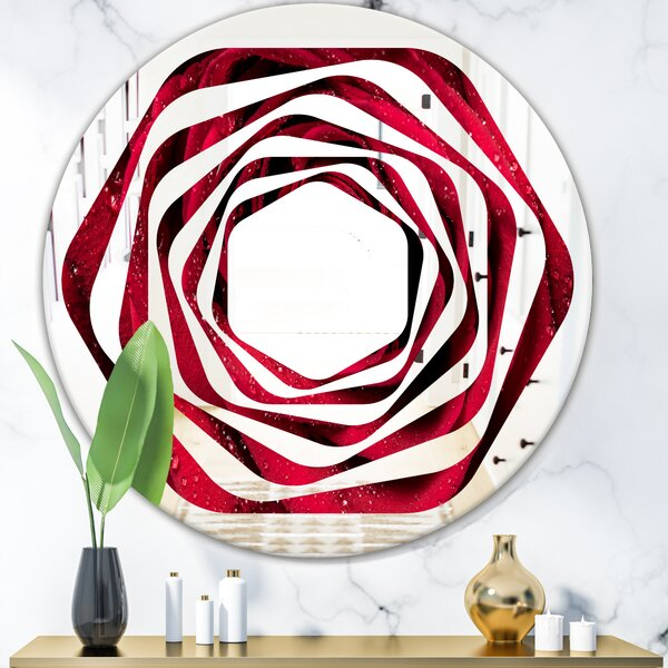Whirl Petals with Rain Droplets Modern & Contemporary Frameless Wall Mirror