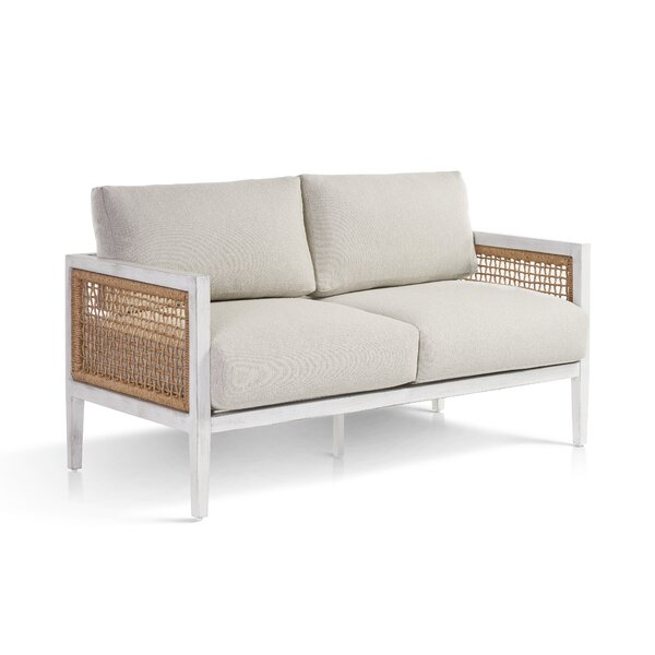 Mciver Parva Loveseat with Sunbrella Cushions by Rosecliff Heights