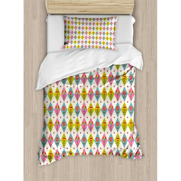 Cute Tulips Pattern Inside Geometric Rhombus Diamonds and Hearts Artsy Print Duvet Set by East Urban Home