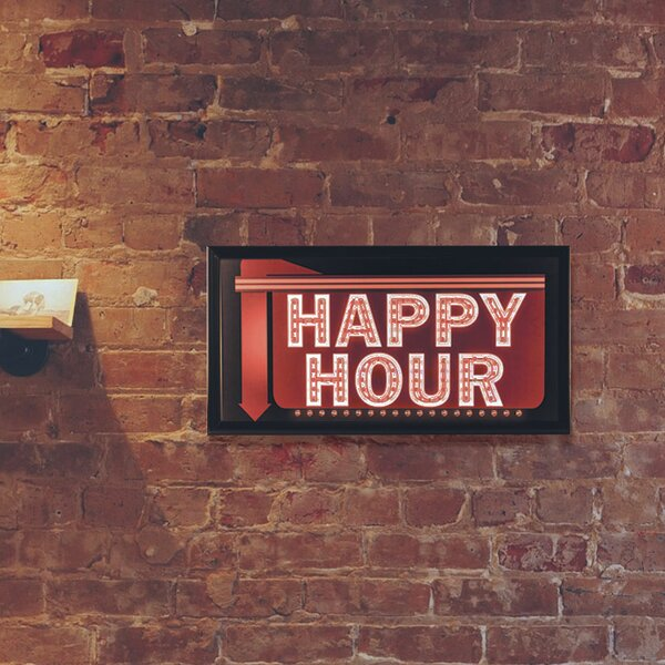 Framed Happy Hour Down Arrow LED Marquee Sign by Crystal Art Gallery