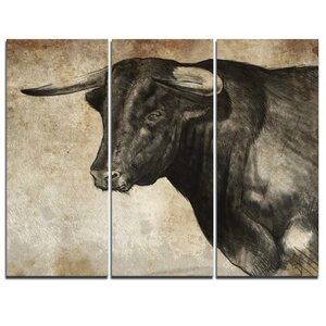 Spanish Bull Sketch - 3 Piece Graphic Art on Wrapped Canvas Set by Design Art