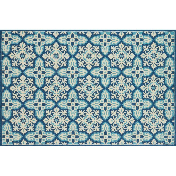 Duvig Hand-Hooked Ivory/Blue Area Rug by Charlton Home