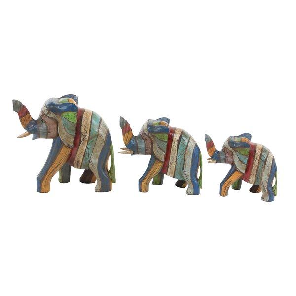 Heins Elephant Wood 3 Piece Figurine Set by World Menagerie