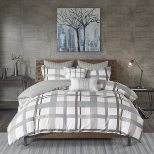 Demetrius Plaid Cotton Sateen 3 Piece Duvet Cover Set