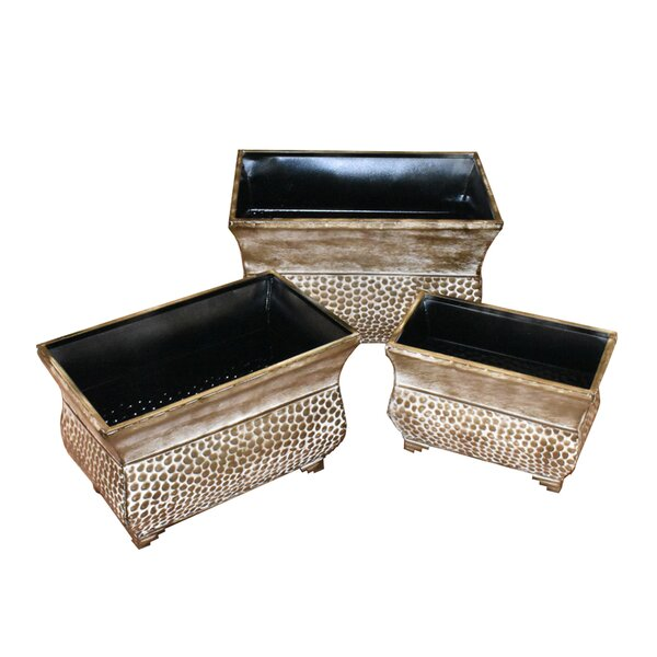 Caleigh 3 Piece Metal Planter Box Set by World Menagerie