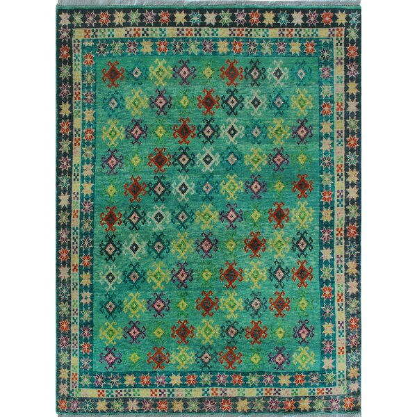 One-of-a-Kind Millender Miracle Hand-Knotted Wool Green Are Rug by Bloomsbury Market