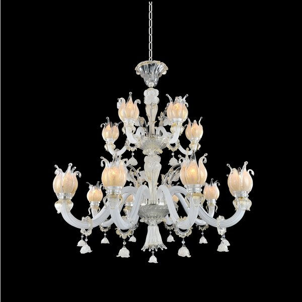 Matos 15-Light Shaded Tiered Chandelier by House of Hampton House of Hampton