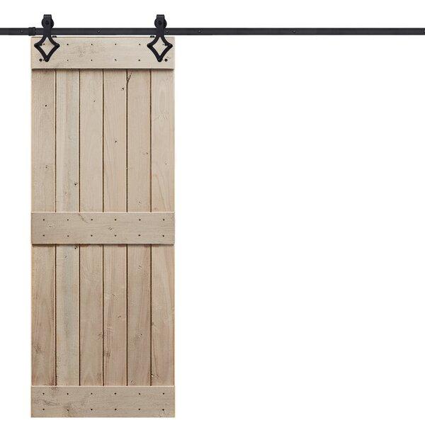 Rustic Mid Rail Plank Wood 2 Panel Interior Barn Door by Barndoorz