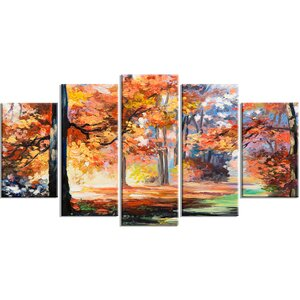 'Fall Trail in Forest' 5 Piece Painting Print on Wrapped Canvas Set by Design Art