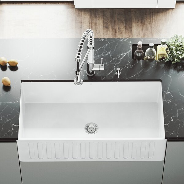 VIGO Matte Stone 36 L x 18 W Farmhouse Kitchen Sink with Faucet by VIGO
