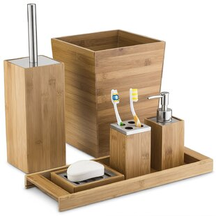 Eliseo Munroe Bamboo 6 Piece Bathroom Accessory Set