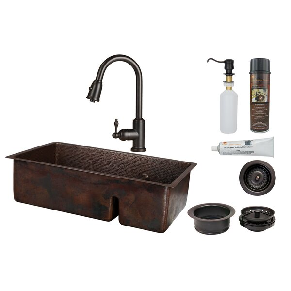 33 L x 19 W Double Basin Undermount Kitchen Sink with Faucet