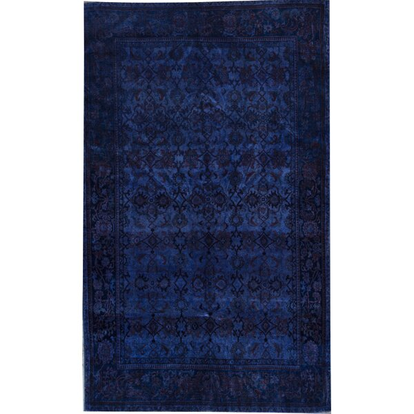 One-of-a-Kind Turkish Hand-Knotted Dark Blue 6'5 x 10'4 Wool Area Rug