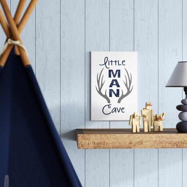 Lisieux Little Man Cave Antlers Wood Grain Decorative Plaque by Harriet Bee