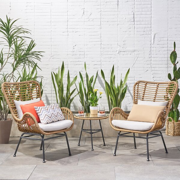 Slagelse Wicker Chat 3 Piece Seating Group with Cushions by Bungalow Rose
