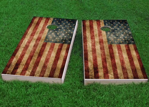 American Flag Worn Cornhole Game (Set of 2) by Custom Cornhole Boards