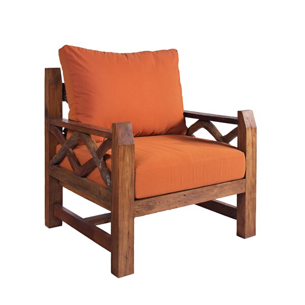 Jovanni Outdoor Teak Patio Chair with Sunbrella Cushions by Loon Peak