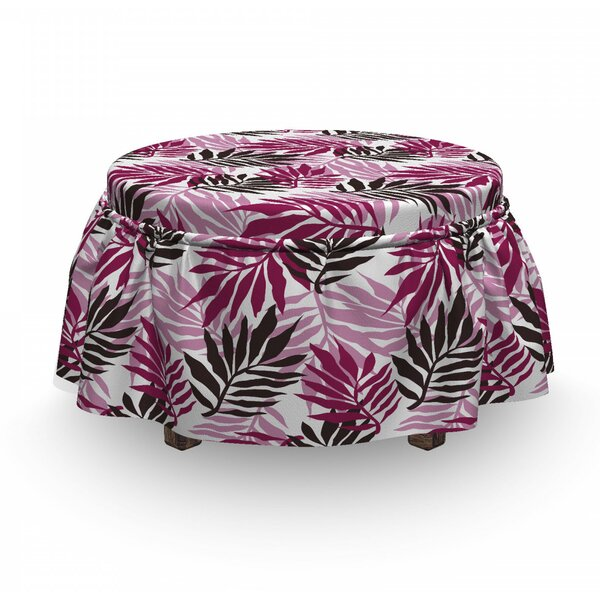 Exotic Tropical Lush Forest 2 Piece Box Cushion Ottoman Slipcover Set By East Urban Home
