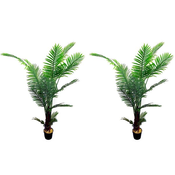 Artificial Paradise Floor Palm Tree in Pot (Set of 2) by Bayou Breeze