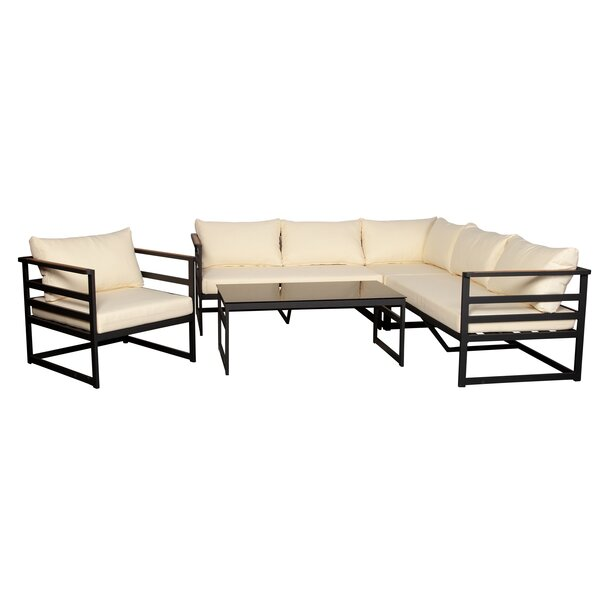 Andra 5 Piece Teak Sectional Seating Group with Cushion by Latitude Run